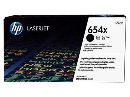 Picture of HP 654X High Yield Black Original LaserJet Toner Cartridge